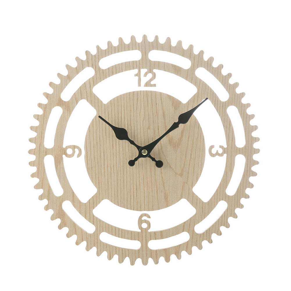 Wood Rustic Metal Wall Clock