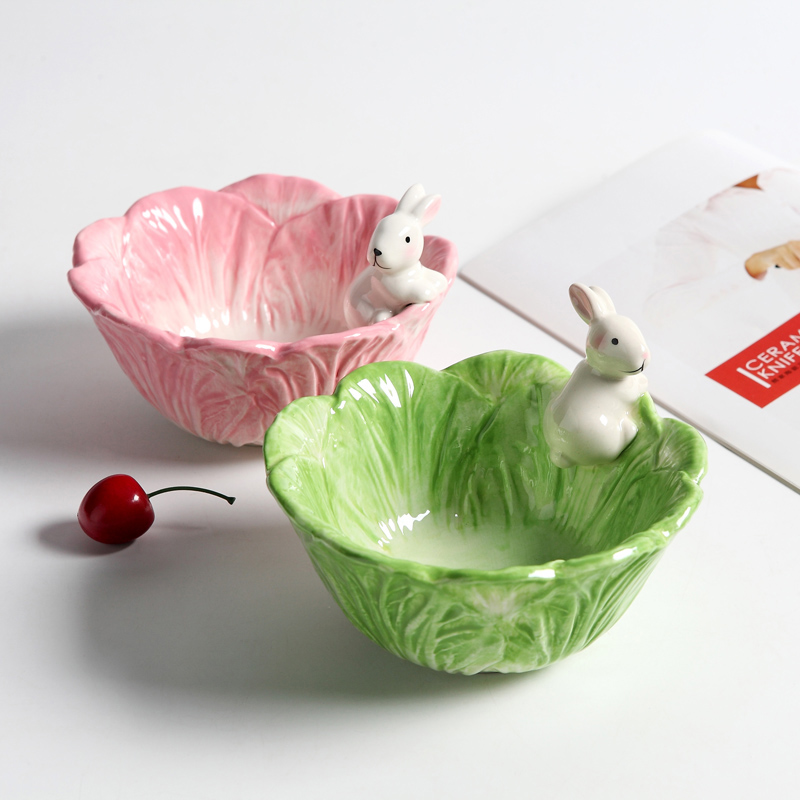 Ceramic Cartoon Rabbits Bowl Cabbage-style Dishes Rabbits Plate Fruit Salad Bowl Tableware Home Party Decor Dining Supplies