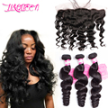 7A Peruvian Virgin Hair With Closure Loose Wave With bundles Ear to Ear Lace Frontal Closure With Bundles 3 Bundles With Closure