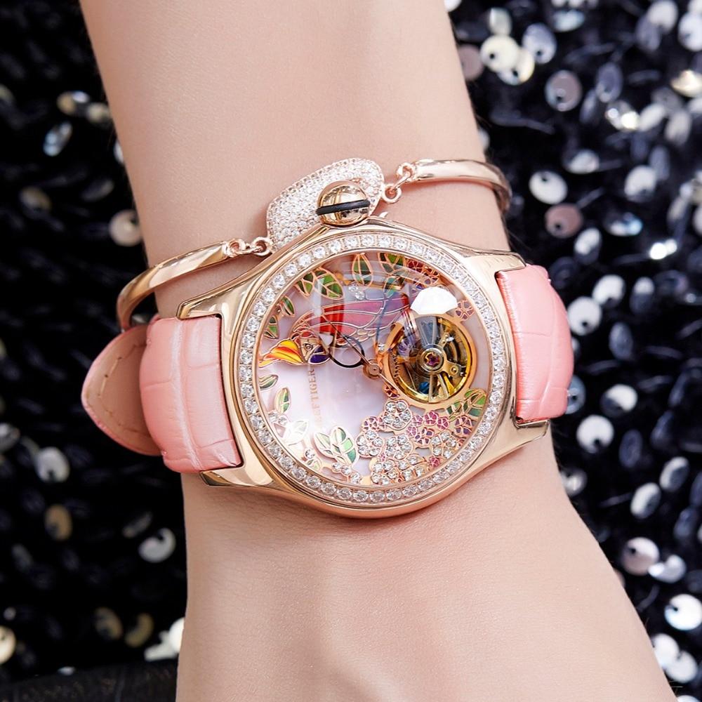 2019 Reef Tiger/RT Womens Luxury Fashion Watches Diamond Automatic Tourbillon Watch Leather Strap Watch Relogio Feminino RGA7105 diamond stylish watches for girls