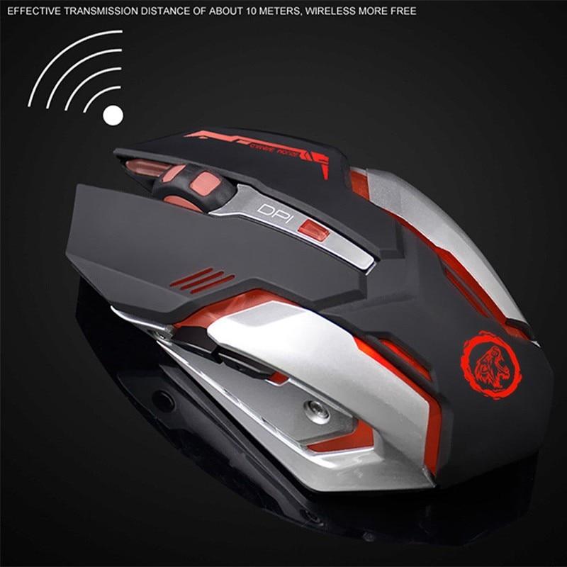 Förderung Wiederaufladbare Stille Drahtlose Maus 2400 DPI PC USB Optische Ergonomische Spiel-spiel-maus Pro Gamer Computer Mäuse DN001
