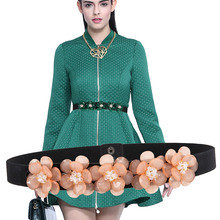 sipaiya Cummerbunds belt Women's Sweet flowers waistband dress diamond waist tight