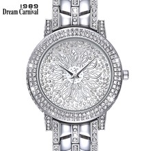 Dreamcarnival 1989 Elegant Women Stones Watches Full Crystals Dial Three Hands Christmas Gift Shiny Rhodium Gold Color A8340B(China)