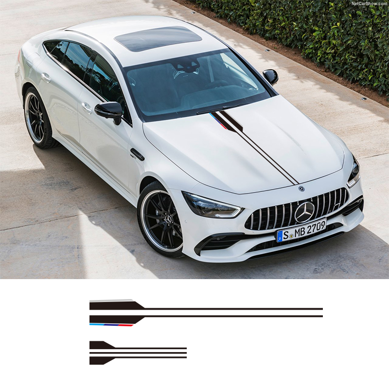 1 Pieces Vinyl Car Styling Head Sticker Hood Decals Stripe For Mercedes Benz AMG A C E G Class Concept Coupe CLS E53 Estate