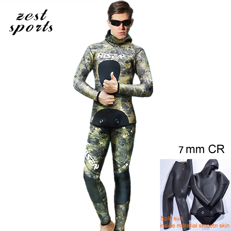 7mm men neoprene diving suit Two-piece Split wetsuit,Fishing and hunting clothing,inside material smooth skin green camouflage 5mm men neoprene diving suit split wetsuit fishing and hunting clothing siamese vest style hooded jacket my013