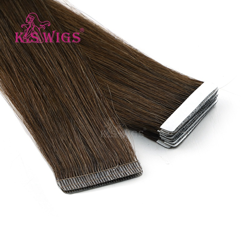 K.S WIGS 100pcs/pack Remy Invisible Skin Weft Hair Straight Love Line Human Hair Extension 16'' 20'' 24''