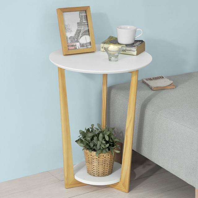 wood side tables living room pictures furniture arrangements sobuy fbt52 wn 2 tiers round wooden table tea coffee end