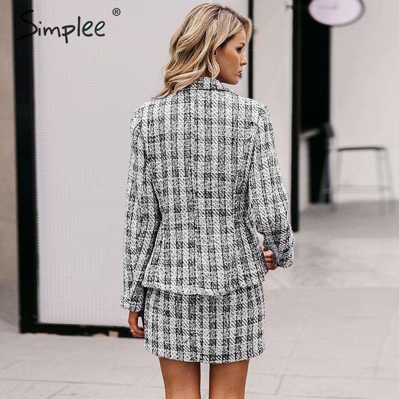 Simplee Tweed plaid two-pieces women skirt suit Casual streetwear suits female blazer sets Chic office ladies women blazer suit