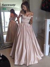 Satsweety Vestidos de Graduacion Off-the-Shoulder Ball Gown Prom Dresses Bead Lace Appliques robe bal longue
