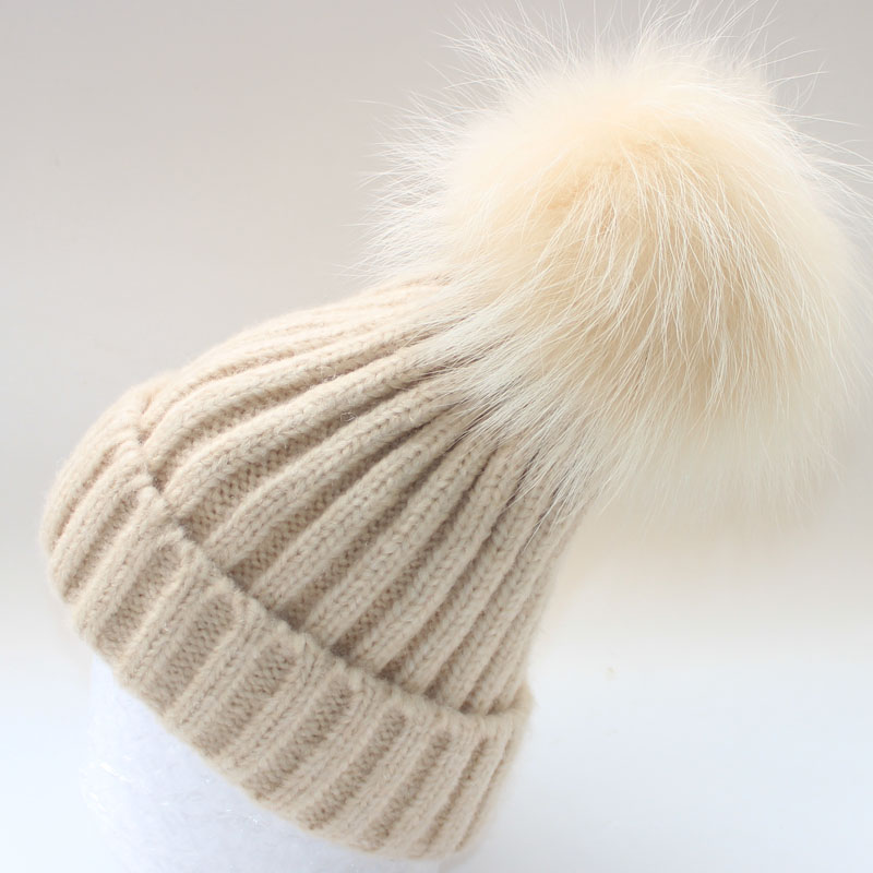 2016 kids Winter Hat Raccoon Fur pom pom Ball Baby Beanies 30% Wool and Polyester Warm knitted beanie pompom hat