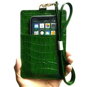 Image 3 - 本革カードホルダーiphone 12ミニプロマックス11 12Pro xs xr電話高級クロコダイルストラップ薄いバッグカバー