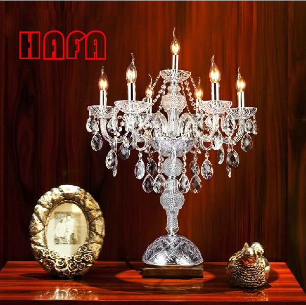 7 cabeças luxruy E14 vela de cristal moda candeeiro de mesa de cristal candeeiro de mesa sala de estar lâmpadas quarto lâmpada de cristal K9 top tabela