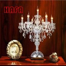 7 머리 luxruy e14 촛불 크리스탈 테이블 램프 패션 크리스탈 테이블 램프 거실 램프 침실 램프 k9 상단 크리스탈 테이블