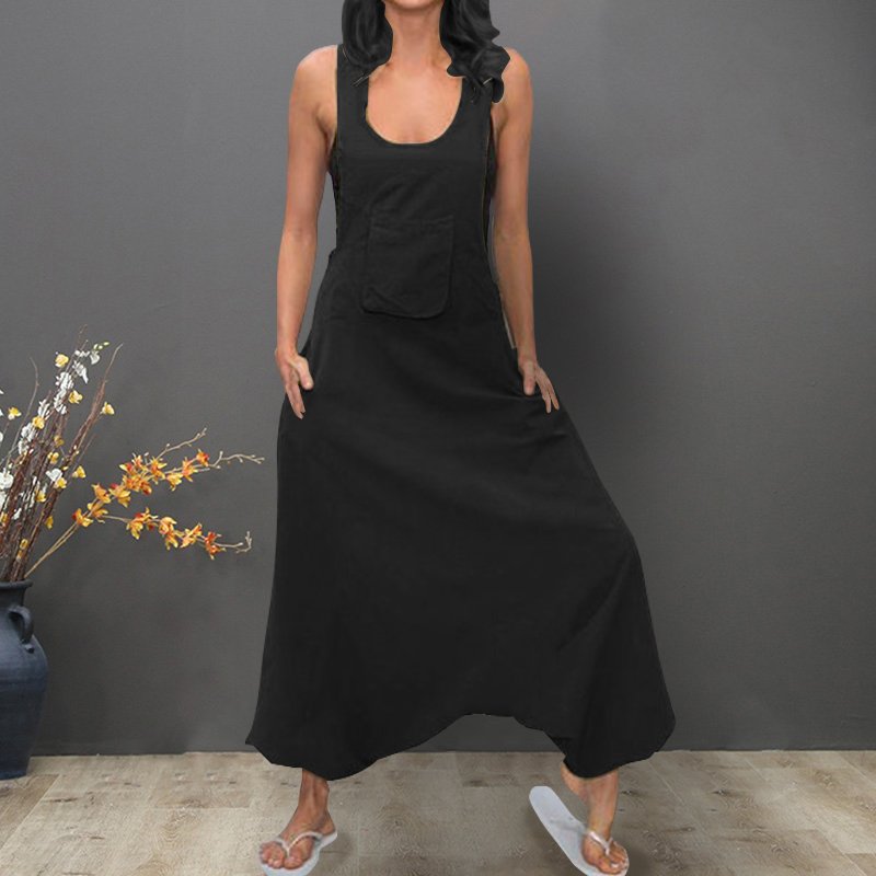 Women   Jumpsuits   ZANZEA 2019 Vintage Linen Overalls Sleeveless Tank Playsuits Female Solid Wide Leg Trousers Drop Crotch Rompers