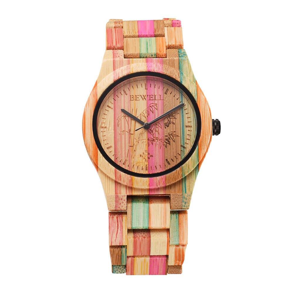BEWELL деревянные кварцевые часы из бамбука Мужские и женские гипоаллергенные Environ мужские Тал дружественные классные Кварцевые аналоговые наручные часы унисекс