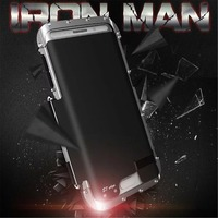 King Iron Man Stainlesssteel Metal Flip Case For Samsung Galaxy S7 Edge Iron Man ShockProof Back