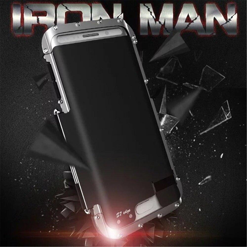 imágenes para Rey Iron Man Inoxidable Del Metal Del Caso Del Tirón para Samsung Galaxy Borde Borde de Iron Man Caso de la Cubierta A Prueba de Golpes Volver S7 S7 G9350
