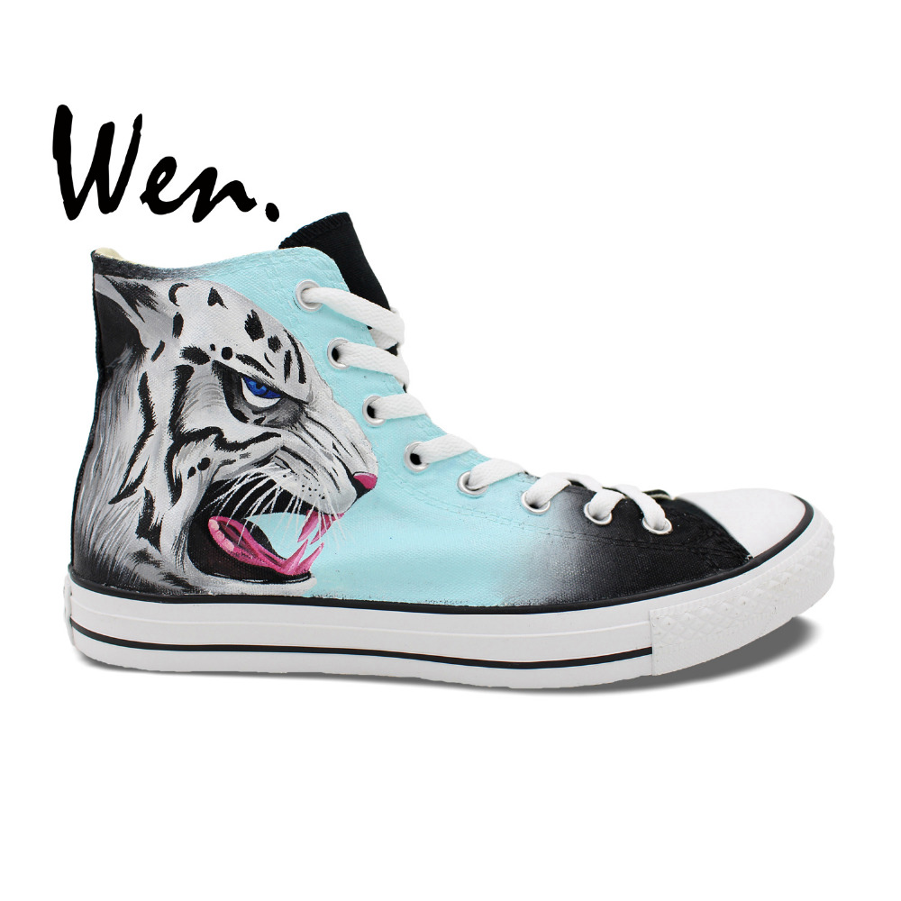 Wen Original Design Fierce Snow Leopard Hand Painted Athletic Canvas Shoes Custom High Top Black Unisex Sneakers Non Slip Shoes wen original hand painted canvas shoes space galaxy tardis doctor who man woman s high top canvas sneakers girls boys gifts