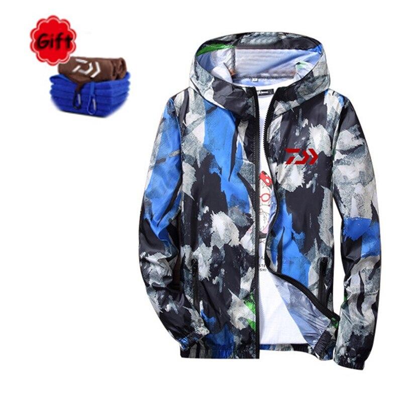 New Men Spring Summer Fishing Clothing Outdoor Sports Climbing Hiking Full Zipper Fishing Camouflage Breathe Coat Free Gift