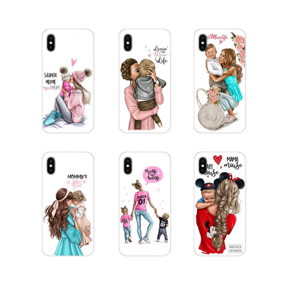 Mobile Phone Shell Case Princess Super MaMa baby mom girl For Samsung Galaxy S4 S5 MINI S6 S7 edge S8 S9 S10 Plus Note 3 4 5 8 9