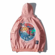 Japanese Embroidered Cranes Fleece Hoodies Streetwear Men Women 2019 Hip Hop Casual Pullover Sweatshirts Pink Blue цена и фото