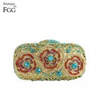 Boutique De FGG Women Flower Crystal Clutch Evening Minaudiere Handbag Rhinestones Bags Clutches For Wedding Party Diamond Purse