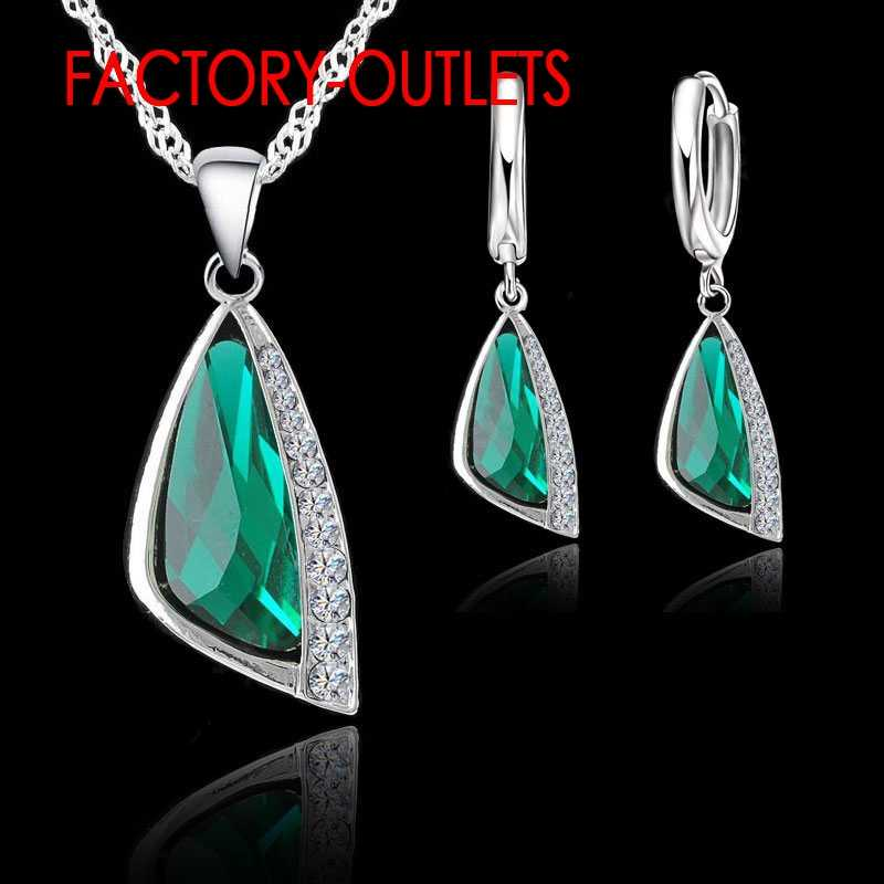 925 Sterling Silver Brital Fasshion Jewelry Set Geometric Austrain Crystal Women Girls Engagement Anniversary Wholesale