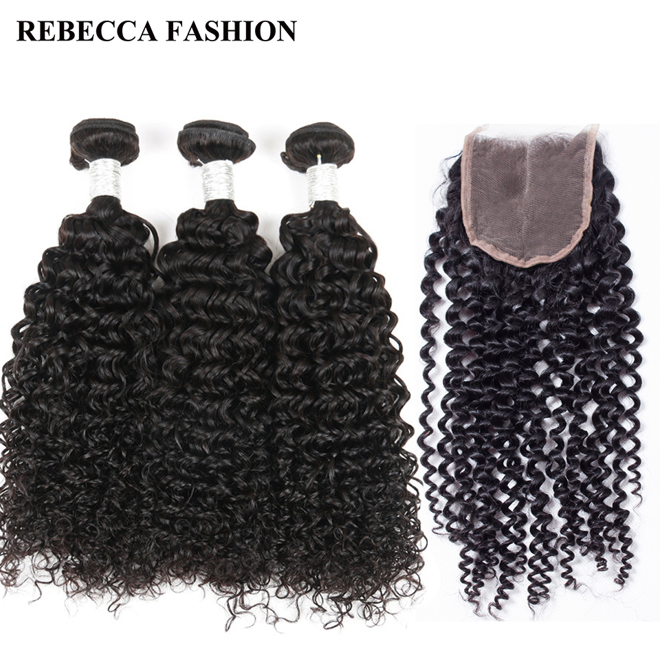 Rebecca Remy Brazilian Curly Hair 3 bundles with Closure Salon Human Hair Weaves 1 Pack 4x4