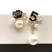 E103 Pearl Number 5 CC Style Long Dangle Chain Famous Brand Designer Luxury Jewelry Jewlery Brincos