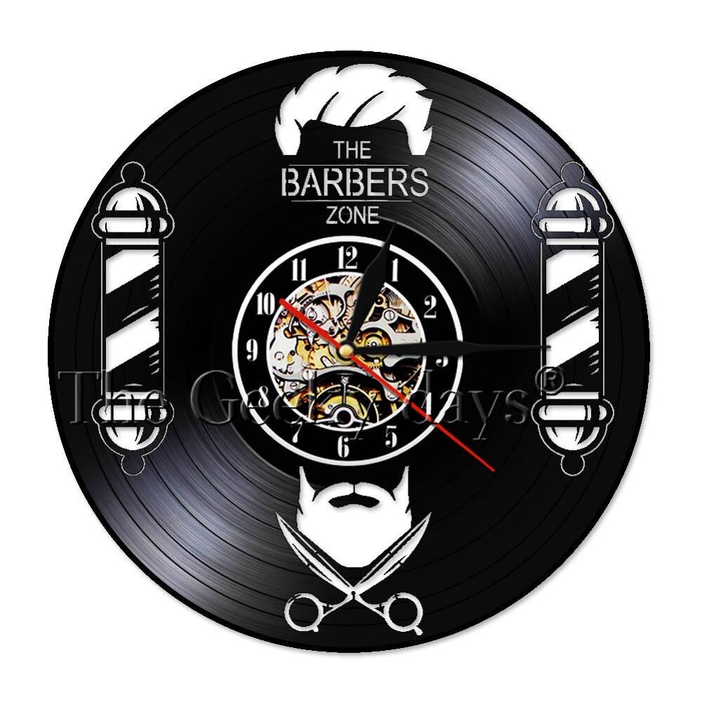 1 Stuk Kapper Muur Vinyl Record Klok Stil Beweging Haar Schoonheidssalon Kapper Hairstylist Room Decor Wall Art Klok In Veel Stijlen