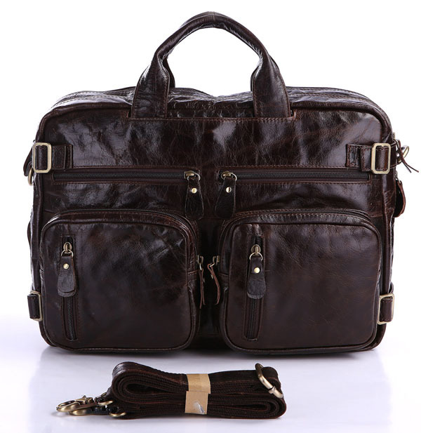 Nesitu High Quality Big Large Capacity Vintage 100% Real Genuine Leather Men Briefcase Cowhide Men Travel Bags #M7026