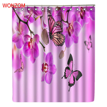 WONZOM Butterfly Modern Flower Polyester Waterproof Accessories Plum Shower Curtains For Bathroom Fabric Bath Curtain With Hooks
