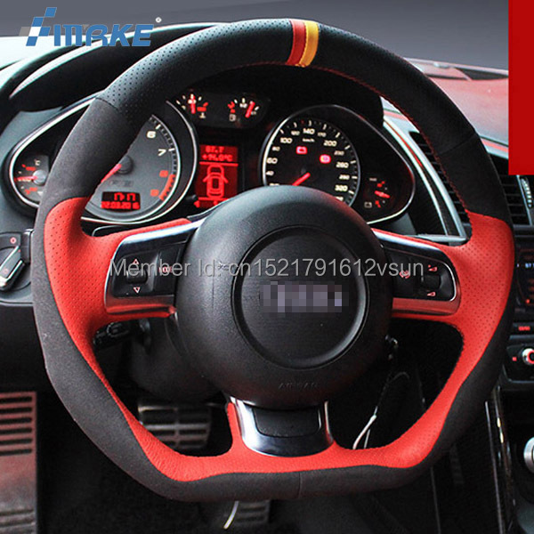 For Audi R8 High Quality Hand-stitched Anti-Slip Red Black   Leather   Black   Suede   Red Thread DIY Steering Wheel Cover