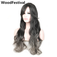 Fashion Womens Mix Gray Black Wig Ombre Grey Hair Long Wavy Synthetic Wigs With Bangs Gradient