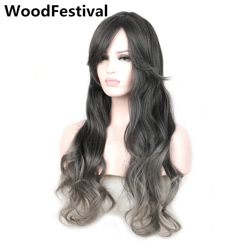 womens mix gray black wig ombre grey hair long wavy synthetic wigs with bangs gradient color