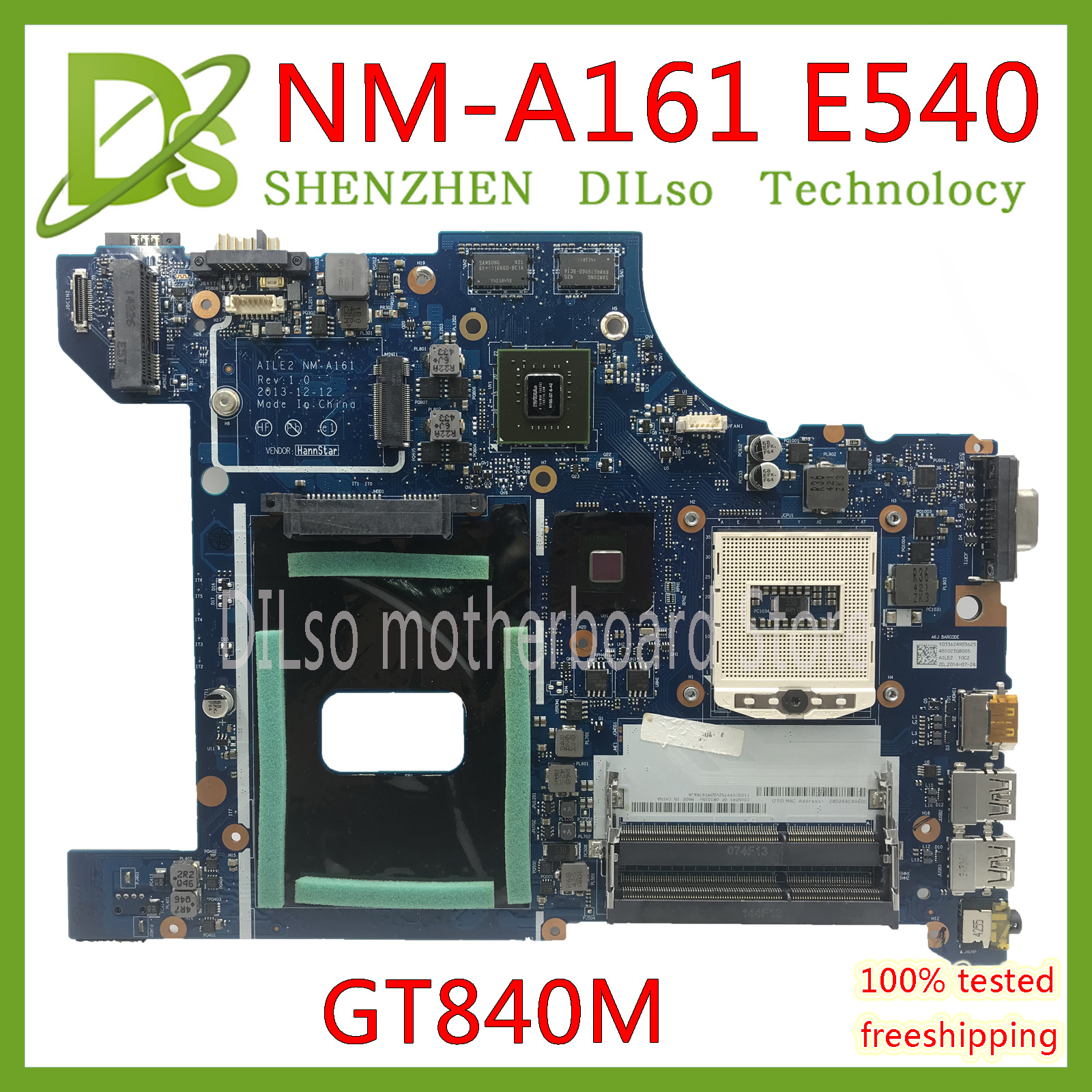 KEFU NM-A161 For Lenovo AILE2 NM-A161 E540 Laptop Motherboard For Lenovo ThinkPad Edge E540 GT840M Mainboard Rev1.0 Test