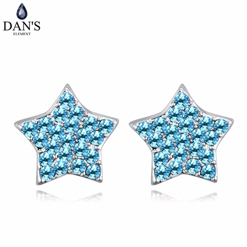 DANS 6 Colors Real Austrian crystals Stud earrings for women Earrings s New Sale Hot Round 128699