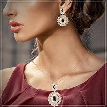 HADIYANA ensemble de bijoux en Zircon, Design classique pour femmes, ensemble de boucles doreilles et collier, nombreuses couleurs en option, haute qualité, CN1123