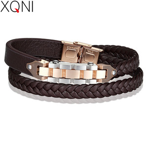 XQNI Bicycle Chain with Toggle-clasps Combination Stainless Steel Genuine Leather Bracelet For Men Brown Rope Chain For Gift(China)