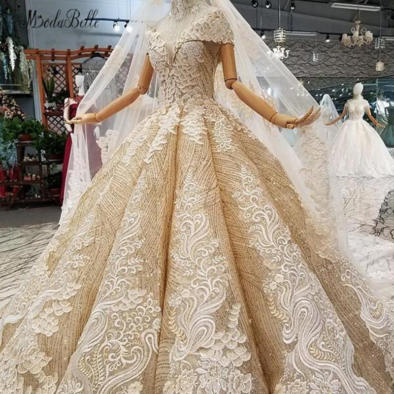 modabelle Gold Arabic Wedding Dress With NecklacLong Veil Vestidos De Novias Ball Gown Bridal Dresses Robe De Mariage