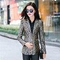 2016 Fashion Cartoon Pattern clothes women Leopard grain suit female plant pattern suit Ladies Single Button slim jacket LX605