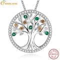 Árvore Da Vida 925 Prata Criado esmeralda Colar de Pingente de Multicamadas Longo Colar para As Mulheres Do Vintage Jóias Femininas