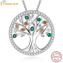 Tree Of Life 925 Sterling Silver Long Necklace for Women Vintage Created emerald Multilayer Pendant Necklace Female Jewelry