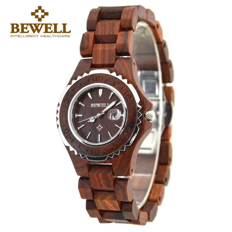 BEWELL China Women Wooden Watch and Wood Ladies Quartz Watch with Waterproof Date Display Small Wristwatch Free Shipping 100BL in Women 39 s Watches from Watches