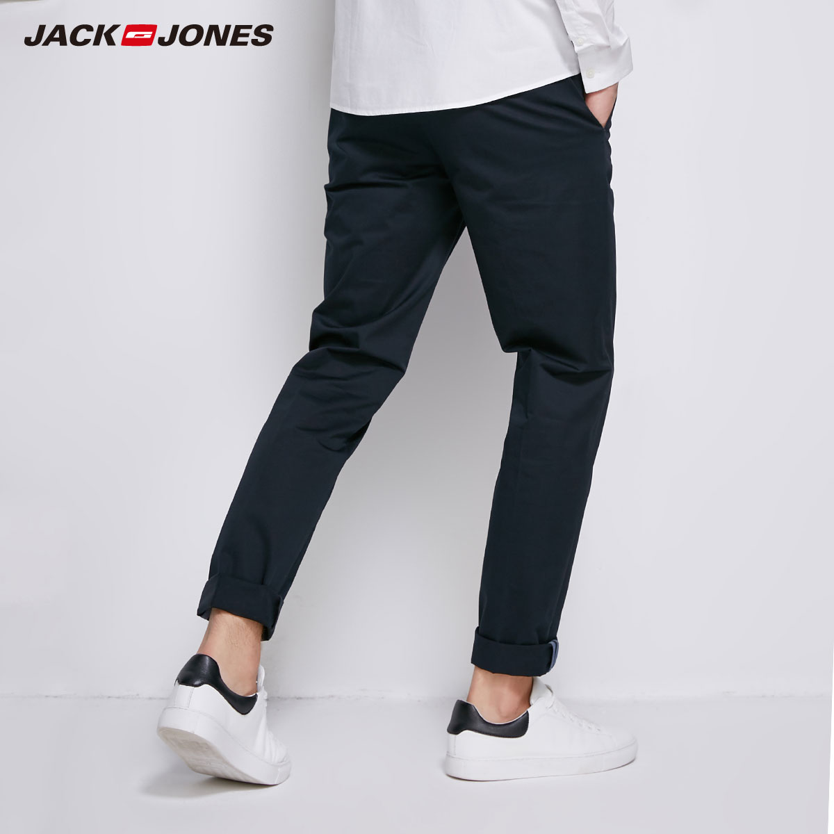 Image 2 - JackJones Mens Cotton Pants Elastic Fabric Comfort Breathable  Business Smart Casual Pants Slim Fit Trousers Menswear218314502Casual  Pants