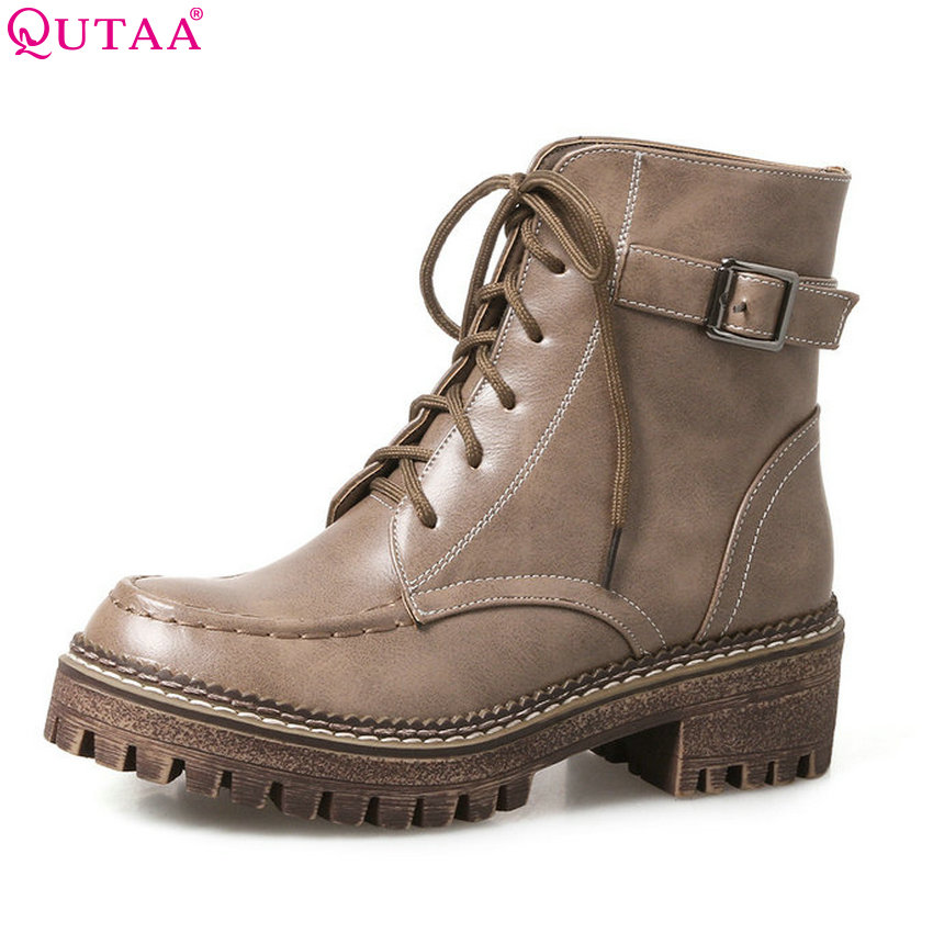 QUTAA 2018 New Fashion  Women Ankle Boots Lace Up Buckle Design Spring and Autumn Square Heel Ladies Motorcycle Boots Size 33-43 цены онлайн