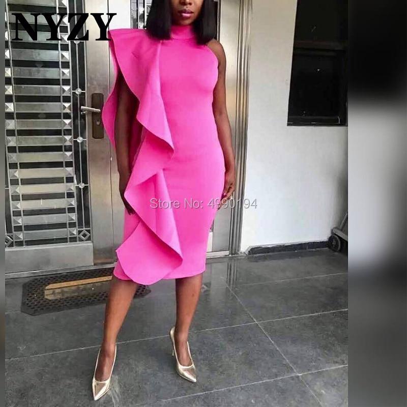 NYZY C120 Pink Satin Mermaid Ruffles Cocktail Dress For Wedding Party Graduation Homecoming Robe Soiree Vestidos Coctel 2019