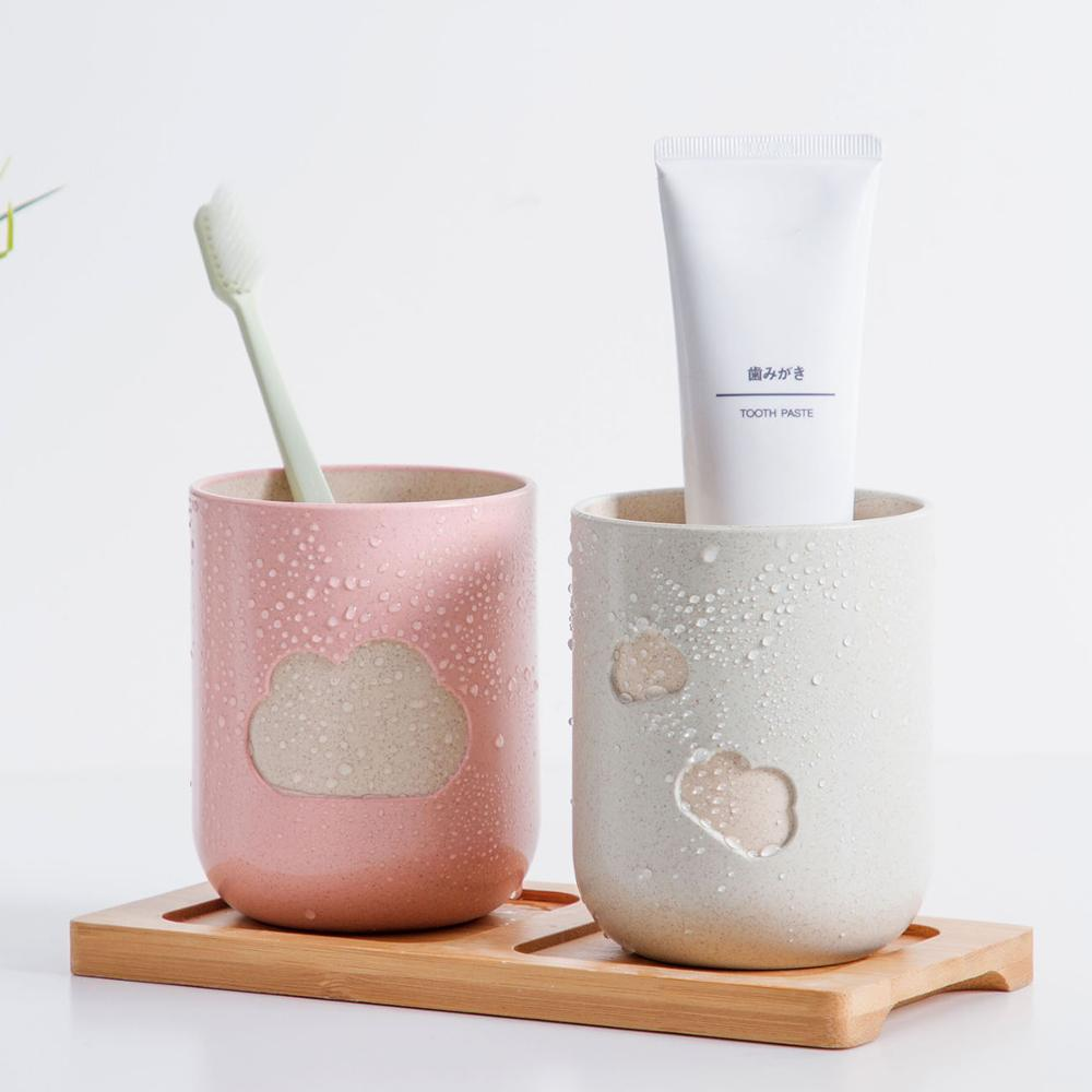 Cloud Pattern Bathroom Big Mouth Toothbrush Holder Cup Couples Durable Wash Tooth Mug Bottle Environmental Friendly Material image