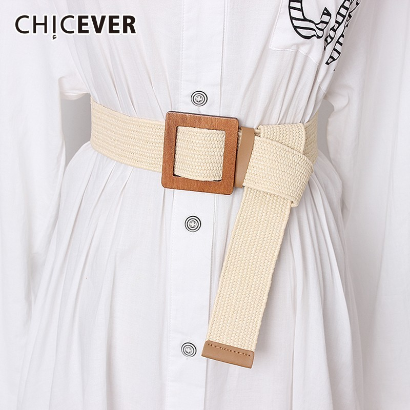 CHICEVER 2020 Summer Striped Belt For Women High Waist Vintage Dresses Shirt Accessories Wide Belt Female Fashion New Tide
