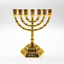 Gold Plated Menorah 7 Branch Holder 12 Tribes Jerusalem Judaica 4.7inch
